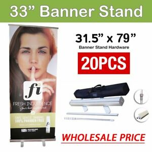 20 Pcs 31 5 X 79 retractable Roll Up Banner Stand Trade Show Pop Up Display