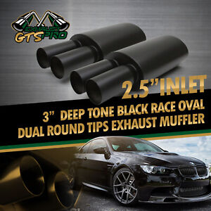 2x High Performance Usa Na Deep Loud Race Oval Exhaust Muffler Dual Round Tips