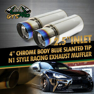 Fit Chevy 2x N1 Style Na Loud Deep Tone Racing Exhaust Muffler burned Slant Tip