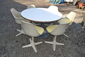 Vintage Space Age Burke Otmar Tulip Dining Table 6 Chairs Mid Century Modern
