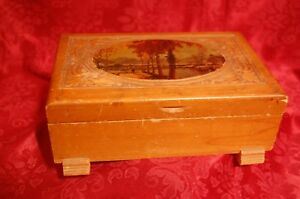 Vtg Lithograph Carved Hinged Dovetail Cedar Wood Trinket Box Jewelry Chest Clasp
