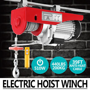 440lbs Electric Hoist Winch Lifting Engine Crane Brackets Cable Pulley Wire Lift