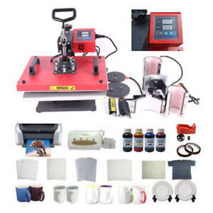 Heat Press Machine Plate Mug T shirt Ciss Printer Sublimation Ink Paper Tape Kit