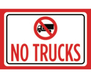 No Trucks Print Red Black White Notice Symbol Outdoor Sign Large 2 Pack 12x18