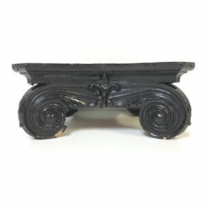 Architectural Victorian Era Carved Wooden Lacquered Stand For Vase Bowl Display