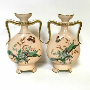 Pair Of Antique 19th Century Peach Pink Color Antique Moon Shape Vases Old Paris