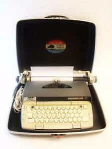 Smith corona Electra 120 Electric Typewriter Grey W Case Tested Working Vintage