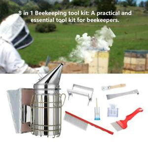 8pcs Beekeeping Tool Kit Bee Hive Smoker Bee Brush Queen Cage Uncapping Fork