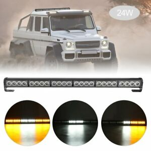 24 Led Emergency Traffic Hazard Flash Strobe Light Bar Warning White Yellow Hm