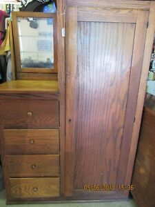 Antique Tiger Oak Wardrobe Armoire With Beveled Mirror