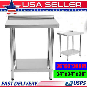 Commercial 24 x30 Kitchen Stainless Steel Work Prep Table With 2 Backsplash