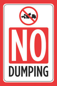 No Dumping Print Red Black White Poster Forest Pond Lake Public Area Park Sign