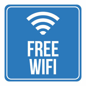 4 Pk Free Wifi Print Blue Internet Signal Window Public Restaurant Signs 12x12