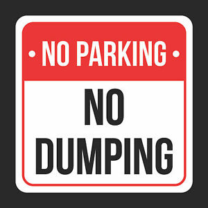 No No Dumping Print Black White And Red Metal Square Sign 4 Pk Of Signs 12x12
