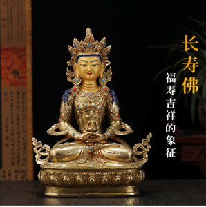13 Tibet Buddhism Copper Gilt Gold Hand Painted Amitayus Buddha Statue