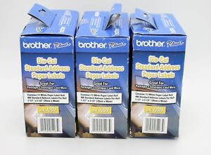 Brother Die cut Address Labels 1 1 X 3 5 White 400 roll 3 Packs