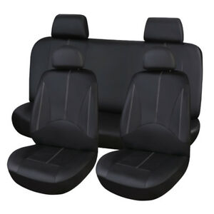 Pu Leather Black Car Seat Cover Full Set Front Rear Seat Cushion Mat Protector Fits 2004 Saturn Ion