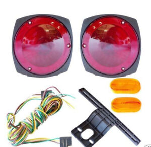 12v Trailer Light Kit 4 Lights Wire Harness Towing Boat Tow Camping Rv Hauling