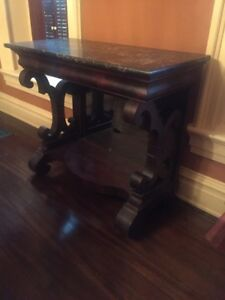 Antique Empire Flame Mahogany Egyptian Marble Top Petticoat Pier Table Ca1840