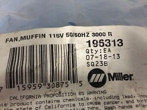 Miller Fan Muffin Part Number 196313 New In Bag