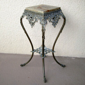 Antique Large Plant Stand Table Ornate Brass Solid Metal Onyx Or Marble Insert