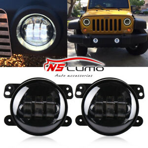 07 17 Jeep Wrangler Jk Cj Tj 4inch Round Cree Led Driving Fog Light Bumper Lamps