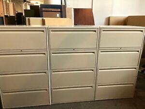 Lot Of 3 4 drawer Lateral Size File Cabinets By Haworth Office Furnit W lock