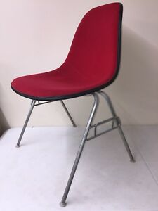 Eames Herman Miller Chair Upholstered Red School Base Shell Mid Century Vintage