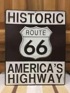 Historic Route 66 Americas Highway Travel Car Truck Garage Parts Man Cave Metal