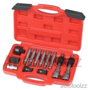13pc Mercedes Benz Bmw Alternator Pulley Insert Bit Removal Socket Tool Set
