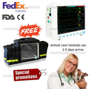 Usa Fedex Vet Veterinary Patient Monitor Vital Signs Icu 6 parameter free Bag