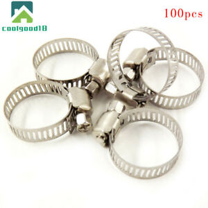 Stainless Steel Adjustable Drive Hose Clamps Fuel Line Worm Clips 3 4 1 100pcs