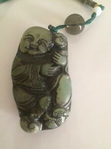 Old Chinese Nephrite Celadon Jade Statue Toggle Fairy Boys W Monkey