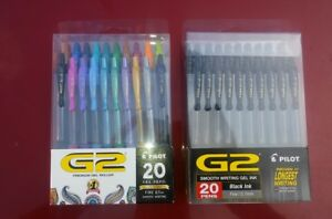 Pilot G2 Retractable Premium Gel Ink Roller Ball Pens Fine Point 2 Packs Of 20