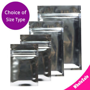 Multi size Both Sided Glossy Silver Foil Mylar Flat Zip Lock Bag Wholesale S04