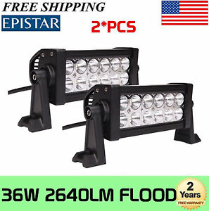 2x 36w 8 Inch Flood Led Work Light Bar Offroad Driving Boat 4wd Ute Suv Epistar