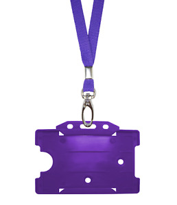 Purple Id Neck Strap Cord Clip Lanyard Plastic Card Badge Tag Work Pass Holder