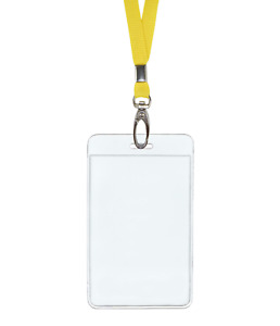 Yellow Id Lanyard Neck Strap Cord Clip And Vertical Badge Tag Card Holder Pouch