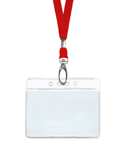 Red Id Lanyard Neck Strap Cord Clip Horizontal Badge Card Tag Holder Clear Pouch