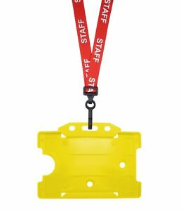 Red Staff Id Neck Strap Cord Lanyard Plastic Clip Yellow Card Badge Pass Holder