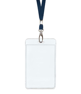 Dark Blue Navy Id Lanyard Neck Strap Cord Clip Vertical Badge Card Holder Pouch