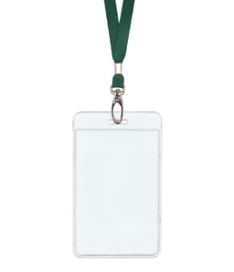 Dark Green Id Lanyard Neck Strap Cord Clip Vertical Badge Tag Card Holder Pouch