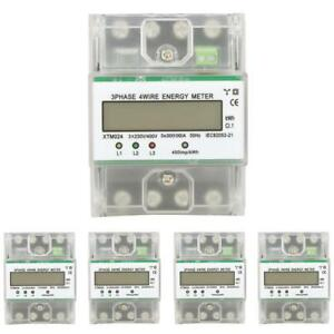 Xtm024 Digital 3 phase 4 Wire Din rail Electronic Energy Kwh Meter With Cover Am