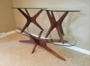 Mid Century Modern Adrian Pearsall Walnut Jacks Coffee Table And End Tables Set