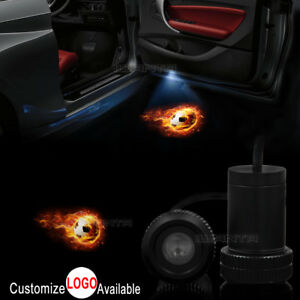 2x Fire Football Logo Car Door Welcome Led Laser Projector Ghost Shadow Light