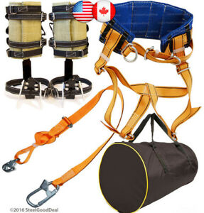 Tree Climbing Spike Set Spurs Harness Belt Saddle Adjustable Safety Lanyard Bag