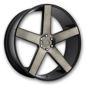 24 Dub Baller Black Ddt Wheels Rims And Tires Package 6x5 5 6 Lug Chevy Gmc Tpm