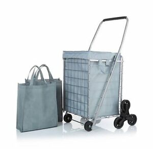 Star 3 wheel Stair climbing Folding Cart With Nylon Liner Silver