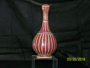 Chinese Qing Dy Ox Blood Striped Garlic Head Long Neck Vase