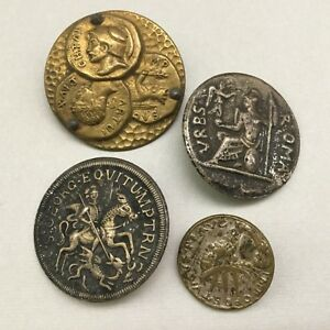 Lot Of Four Antique Metal Picture Buttons Of Roma Coins Etc All Different Nice